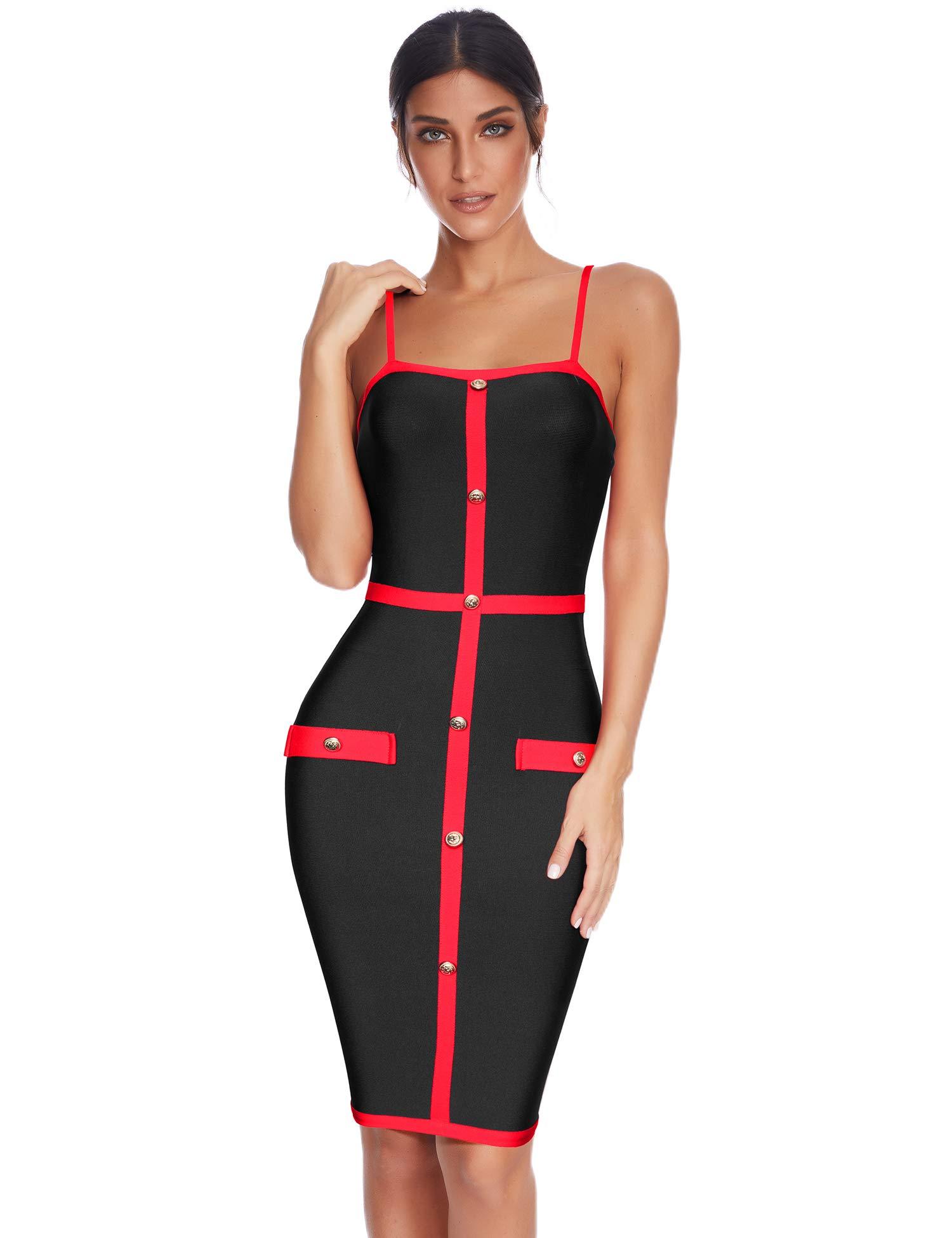 Meilun Womens Botton Elegant Spaghetti Strap Night Club Dress Celebrity Party Dresses