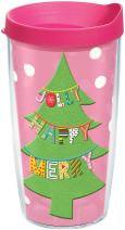 Tervis 1269001 Jolly Happy Merry Insulated Tumbler with Wrap and Fuschia Lid, 16oz, Clear