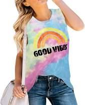 Women's Soft T Shirt Good Vibes Shirts Casual Tie-Dye Gradient Tee Shirt Top Rainbow Print Shirts Short Sleeve Top