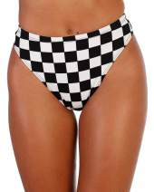 iHeartRaves Speed Limit Checkered High Waisted Thong Shorts (Black, Large)