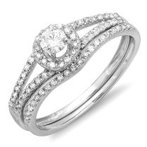Dazzlingrock Collection 0.45 Carat (ctw) 14K Gold Round Diamond Ladies Bridal Halo Style Engagement Ring Set 1/2 CT