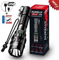 Aukelly LED Flashlights USB Rechargeable Flashlights High Lumens XM-L2 Tactical Flashlight Super Bright,Zoomable,Waterproof,Handheld Light for Camping,Emergency,Cycling,with 18650 Battery