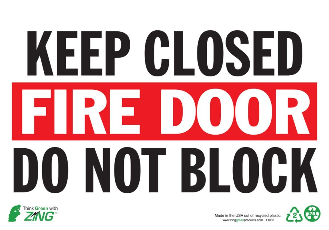 ZING 1083S Eco Safety Sign, Keep Fire Door Closed, 7Hx10W, Recycled Polystyrene Self Adhesive