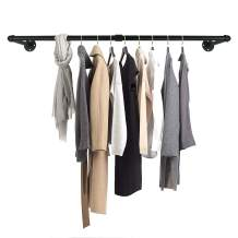 GeilSpace Industrial Pipe Clothes Hanging Bar, Wall-Mounted Clothes Rack, Garment Rack, Space-Saving, Holds up to 50lb, Easy Assembly, Black (60 Inch)