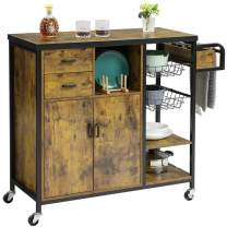 Hasuit Storage Kitchen Island Cart on Wheels, Home Bar Serving Cart, Kitchen Utility Trolley Cart with Drawers, Towel Rack, Basket and Cabinet, Mobile Kitchen Cart DJ477056_3(Accent)