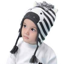 iTVTi Baby Toddler Boys Winter Hat Earflap Fleece Lined Kid Animal Zebra Knit Beanie Caps Ages 6M-8T