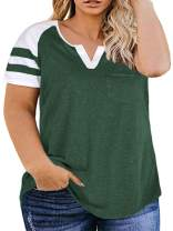 VISLILY Plus-Size Tops for Women Summer V Neck T Shirts Raglan Tees XL-4XL