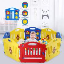 8 Panel Baby Playpen - Foldable Kids Activity Centre Safety Play Yard for Toddler Baby, Home Indoor Outdoor Plastic Castle Baby Fence,Multicolor Play Pen with Locked Gate by XXFBag