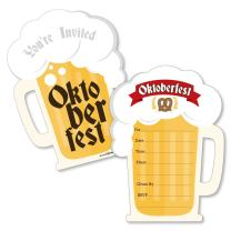 Oktoberfest - Shaped Fill-in Invitations - German Beer Festival Invitation Cards with Envelopes - Set of 12