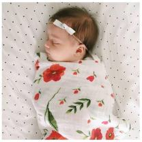 Parkside Wind Baby Muslin Swaddle Blankets Soft Neutral Cotton Blend Bamboo Fiber Receiving Blanket Bathing Towel Boy Girl Unisex Toddler Infant Newborn 47 X 47 Inches (Poppy)