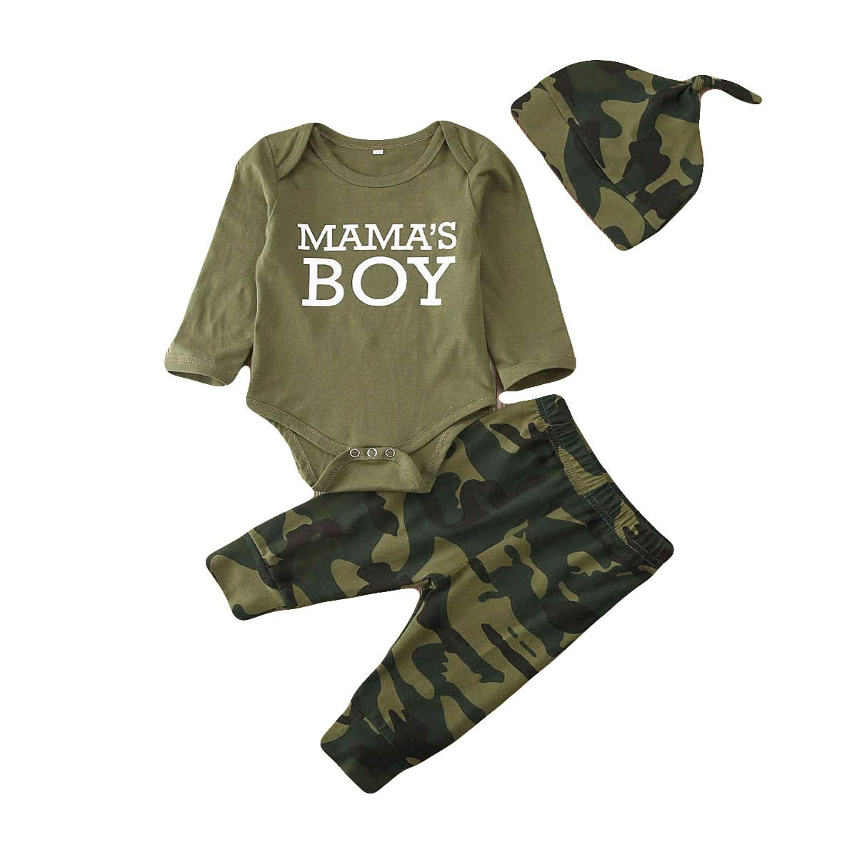 3Pcs Newborn Baby Boys Girls Camouflage Clothes Short Sleeve Letter Printed Romper Tops+Long Pants+Hat Outfits Set