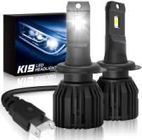 H7 Led Headlights Bulbs, SUPAREE K19 Single Beam Headlamp with Fan, 9600lm 6000K Cool White High Beam/Low Beam/Fog Light Bulb (2 Pack)
