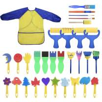 YallFairy Washable Paint Brushes Set for Toddler Kids Early Learning Toys Finger Paints sponges Art Supplies Gifts -nontoxic-100% Baby Safe