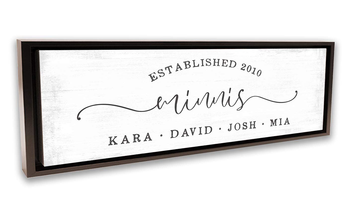 Pretty Perfect Studio Custom Welcome Sign for Home, Personalized Family Name Wall Art | 12x36 Walnut Framed, Ready-to-Hang Canvas Wall Art