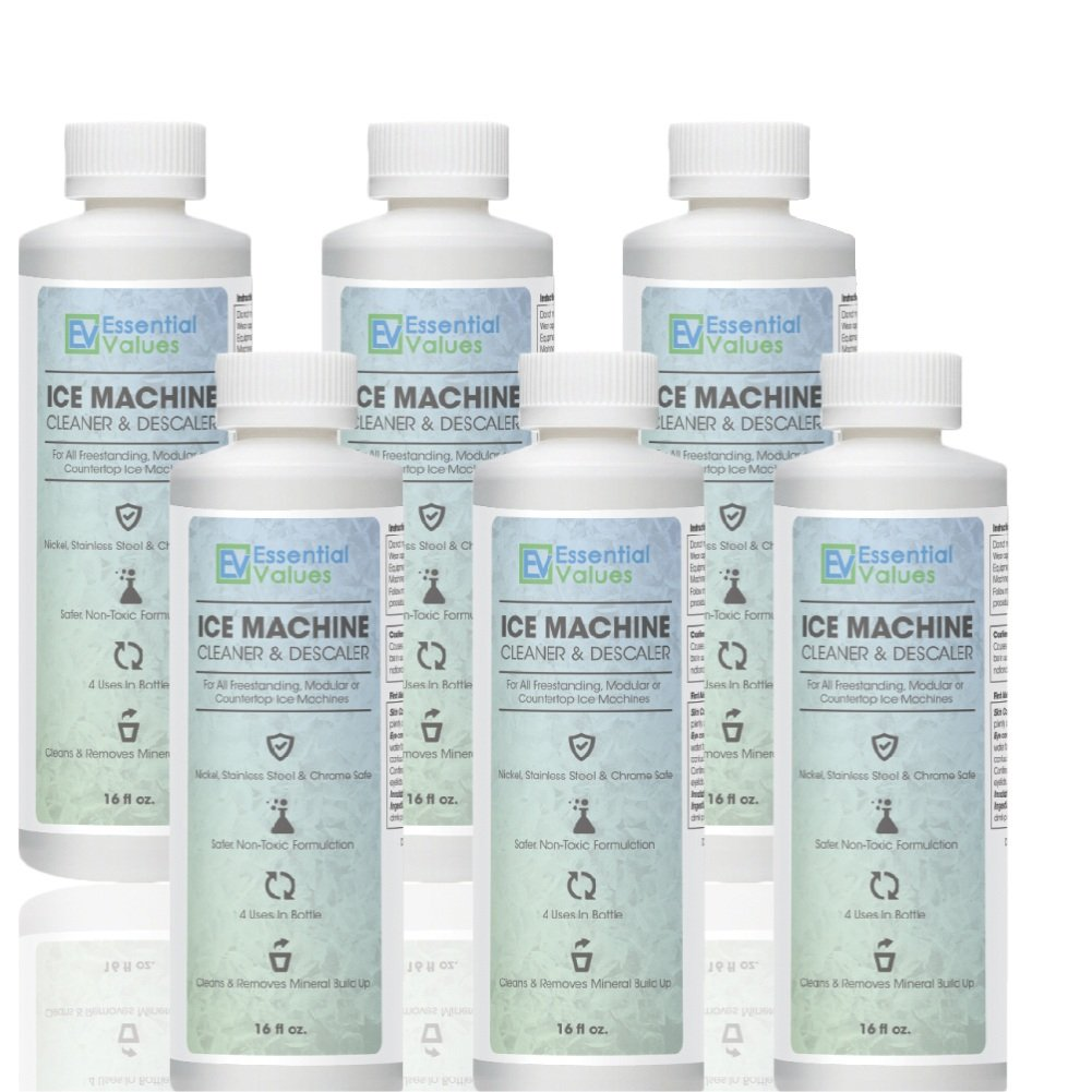 Ice Machine Cleaner 16 fl oz(6 Pack/CASE), Nickel Safe Descaler | Scale Remover, Universal Application for Whirlpool 4396808, Manitowac, Ice-O-Matic, Scotsman, Follett Ice Makers by Essential Values