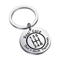 CENWA Mechanic Gift Car Guy Gift Race Car Jewelry Drag Racing Gift Real Cars Don't Shift Themselves Keychain Gift for Race Car Driver