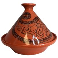 Tagine Cooking Pot Original Moroccan Handmade Lead Free Clay 10 Quart Cooking Dish Family Size Recipe Book and Metal Diffuser Included