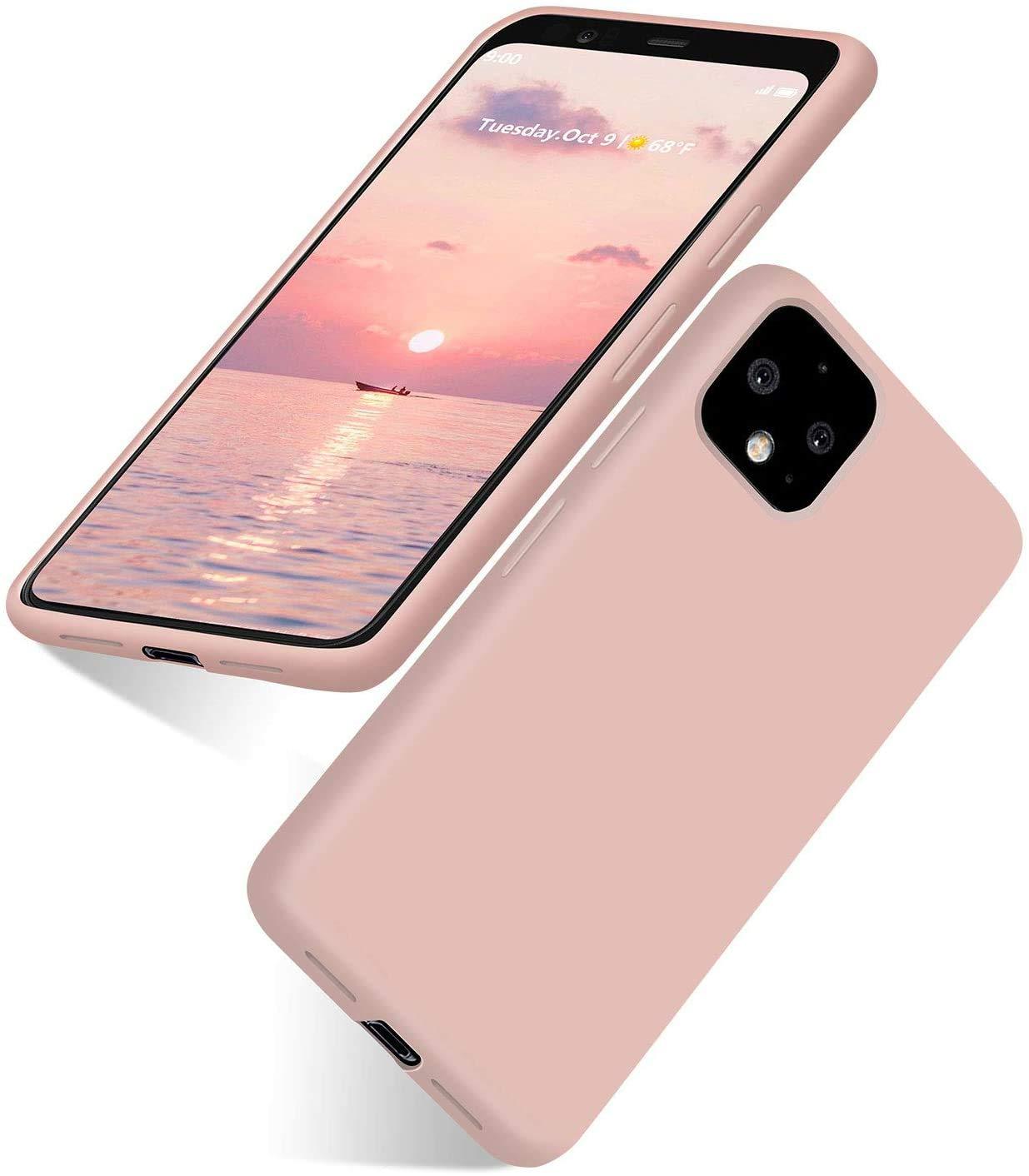 abitku Google Pixel 4 Case, Google Pixel 4 Silicone Slim Gel Rubber Phone Case Soft Microfiber Cloth Lining Cushion Compatible for Google Pixel 4 5.5 inch (2019) (Pink Sand)