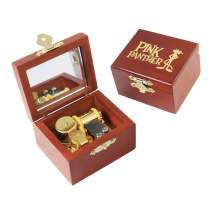 Youtang Pink Panther Music Box Carved Wood Musical Box Wind Up Gold Mechanism Mucial Gift for Christmas,Birthday,Valentine's Day