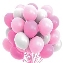 Prextex 75 Party Balloons 12 Inch Pink, Baby Pink and White Balloons with Ribbon for Pink White Color Theme Party Decoration, Girl Baby Shower, Bachelorette, Birthday Parties Supplies, Helium Quality
