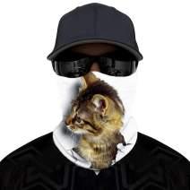 Unisex 3D Animal Cat Dog Face Bandana Rave Neck Gaiter Sport Headwear Multifunctional UV Protection Dust Wind Balaclava Scarf