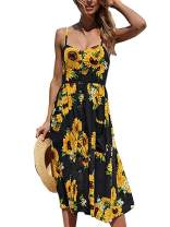 Daxvens Women's Sundresses Summer Beach Party Floral Spaghetti Strap Button Down Swing Midi Dress with Pockets