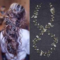 Brishow Bride Wedding Headband Crystal Pearl Beaded Hair Vine Rhinestone Bridal Hair Accessories for Women and Girls (Gold)