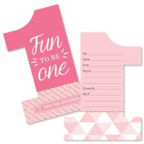 1st Birthday Girl - Fun to be One - Shaped Fill-in Invitations - First Birthday Party Invitation Cards with Envelopes - Set of 12