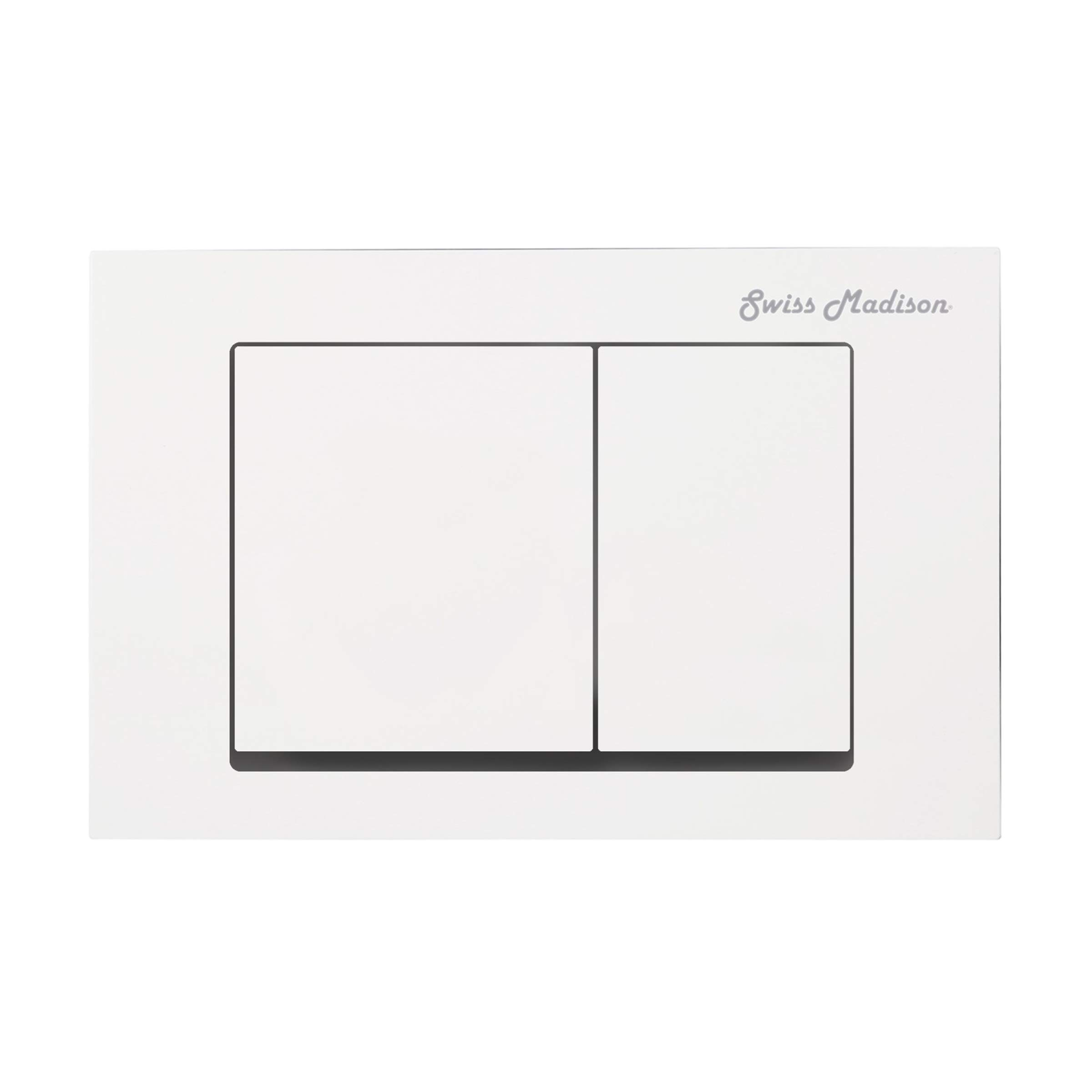 Swiss Madison Well Made Forever White SM-WC002W Wall Mount Dual Flush Actuator Plate with Square Push Buttons