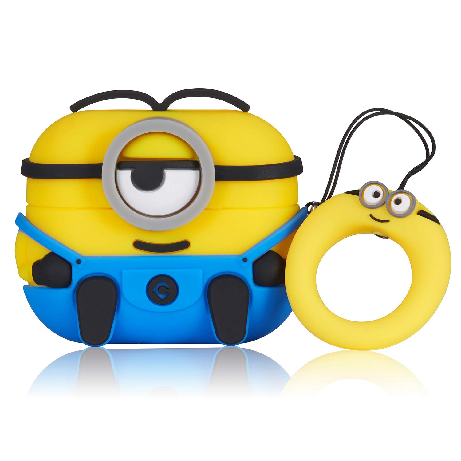 Coralogo Case for Airpods Pro/3 Cute, 3D Animal Minion Fashion Character Soft Silicone Cartoon Airpod Skin Funny Fun Cool Keychain Design Kids Teens Girls Boys Cover Cases Air pods 3 (Blue One Eye)