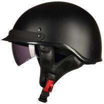 ILM Half Helmet Motorcycle Open Face Sun Visor Quick Release Buckle DOT Approved Cycling Motocross Suits Men Women (S, Matt Black)
