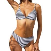 RUUHEE Women Straps Leopard Printed V Neck Cheeky 2 Piece Bikini Swimsuits