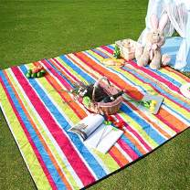 """Three Donkeys Machine Washable Lightweight Picnic & Beach Blanket Rug Handy Mat Tote Plus Thick Dual Layers Wate-Resistant Sandproof Padding Portable for Family,Friends, Kids, 79""""x79"""" (Colour)"""