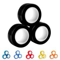 AKKO Fidget Toys Decompression Magnetic Rings-Novelty Professional Fidget Spinner Stress Relief Tools to Relieve ADHD Anxiety for Man Women and Children Used as Focus Fidget-Black