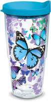 Tervis Blue Endless Butterfly Insulated Tumbler with Wrap and Turquoise Lid, 24oz, Clear