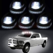 cciyu 5 PackCab Roof Top Marker Smoke 264141BK Running Lamps w/White LED Light Bulbs Replacement fit for Replacement fit for Truck Pickup 4x4 SUV (smoke lens white light)