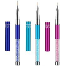 Ycyan 3Pcs Nail Art Liner Brush Pen Set (Size 7 mm,9 mm,11 mm) Rhinestone Handle Salon Using Nylon Hair Brushes