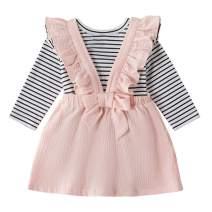 itkidboy Toddler Infant Baby Girls Skirt Set Long Sleeve Ruffle Striped Shirt Pink Dress Outfit