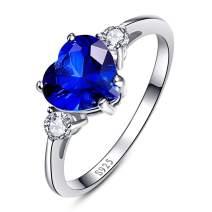 BONLAVIE Women's Created Blue Sapphire 925 Sterling Silver Anniversary Valentine Heart Promise Ring