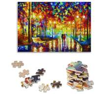 Adults Puzzle 1000 Piece Jigsaw Puzzle Rain Night Walk, Thicker Wooden Puzzle Famous Art Oil Painting Difficult Puzzle Game, Home Decor 70 x 50 cm