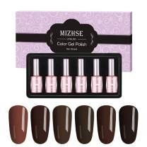 MIZHSE UV UV Gel Nail Polish Kit,Dark Brown Color Series, 6 Colors Gel Manicure Pedicure Sets Beauty Salon Nail Arts Kits Gift Box 6pcs 18 ML