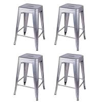 GIA 24-Inch Backless Counter Height Stool, 4-Pack, Silver