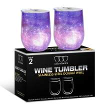 2 Pack Stainless Steel Wine Glass Tumbler with Lid, 12 oz Double Wall Vacuum Insulated Travel Tumbler Cup, Coffee Water Bottle Cup (Purple Sky)