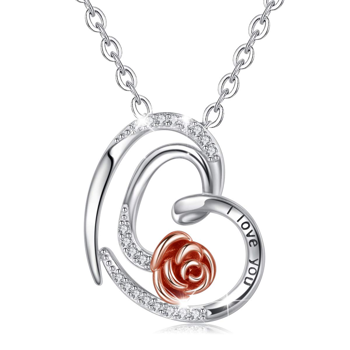 """CELESTIA Sterling Silver Heart Rose Necklace for Women, I Love You Forever Love Heart Flower Pendant Necklaces Mothers Day Gifts - 18"""" Chain"""