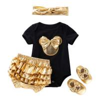 Infant Girls 4pcs Mini Mouse Gold Shorts Set Cotton Romper+Bloomers+Shoes+Headband Outfit