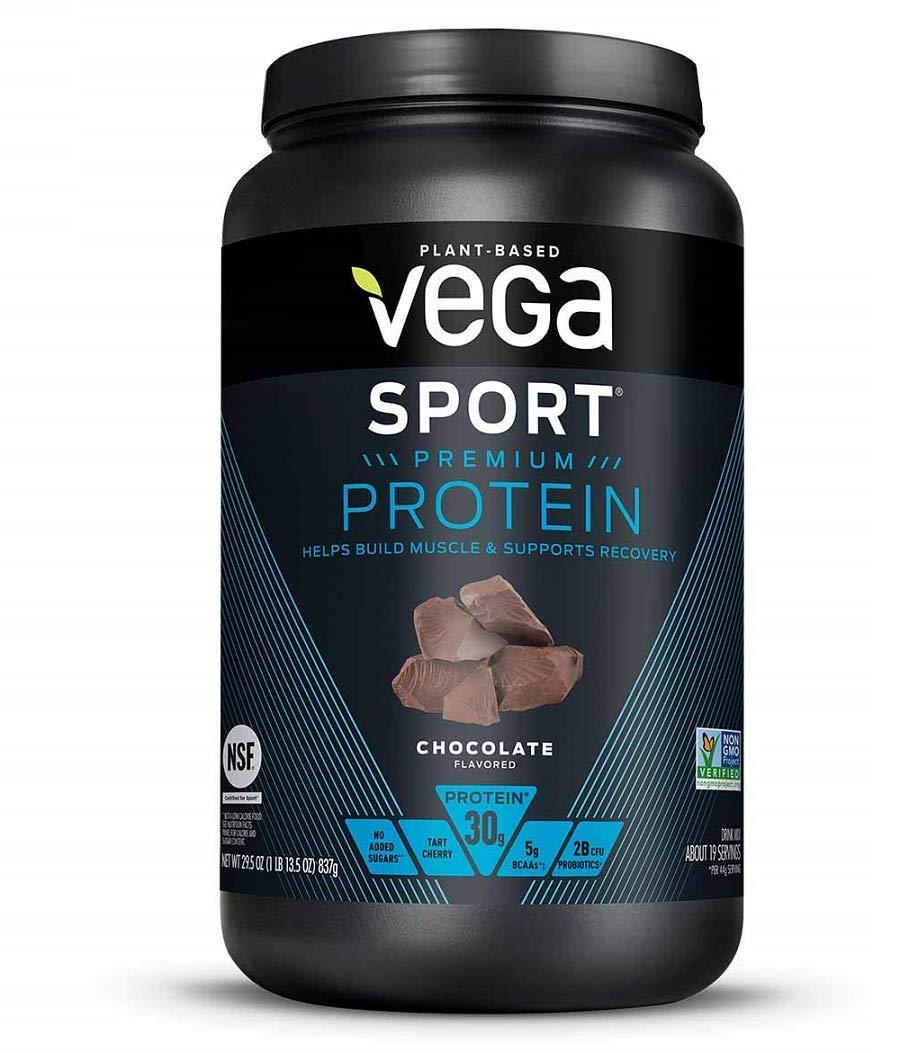 Vega Sport Protein Powder Chocolate(19 Servings, 29.5 Ounce)  - Plant-Based Vegan Protein Powder, BCAAs, Amino Acid, tart cherry, Non Dairy, Keto-Friendly, Gluten Free,  Non GMO (Packaging May Vary)