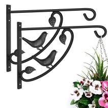Hanging Plant Brackets Heavy Duty Jiayi 2 Pack Metal Wall Brackets for Hanging Basket Bracket 13 Inch Plant Bracket Hook Outdoor Plant Hanger Brackets Wrought Iron Hook Bracket for Hanging Bird Feeder