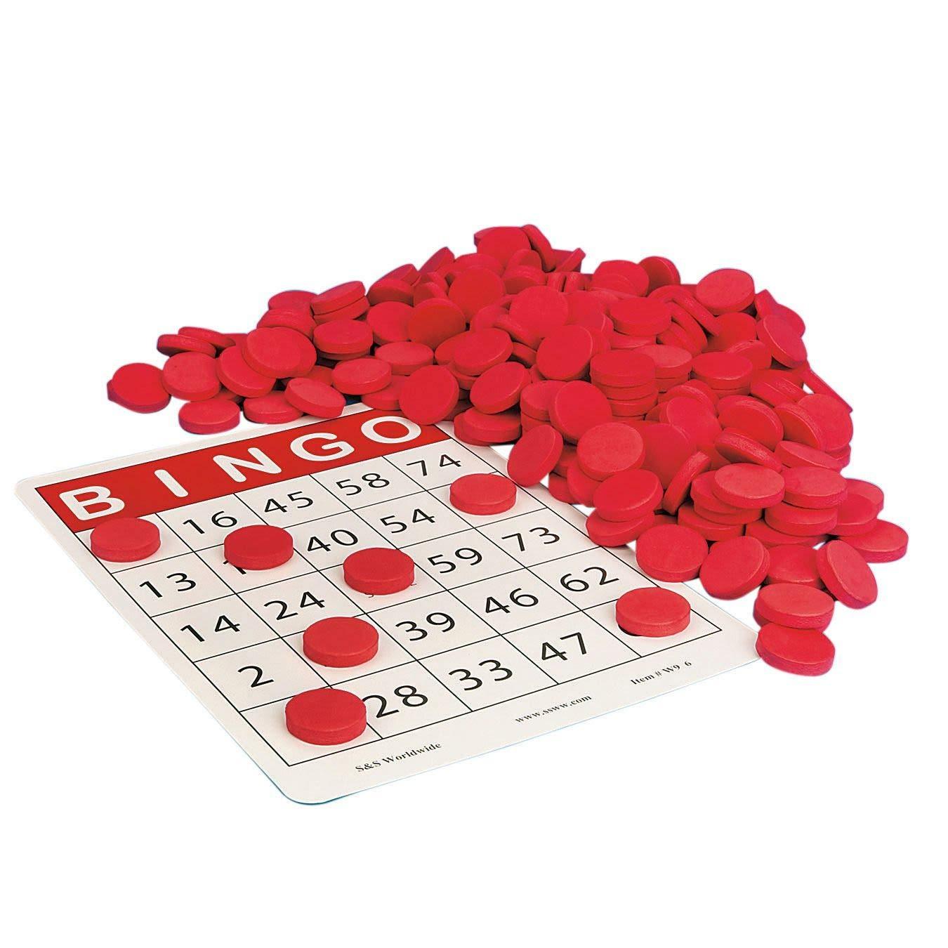 S&S Worldwide Quiet Bingo Chips, Red (Pack of 250)