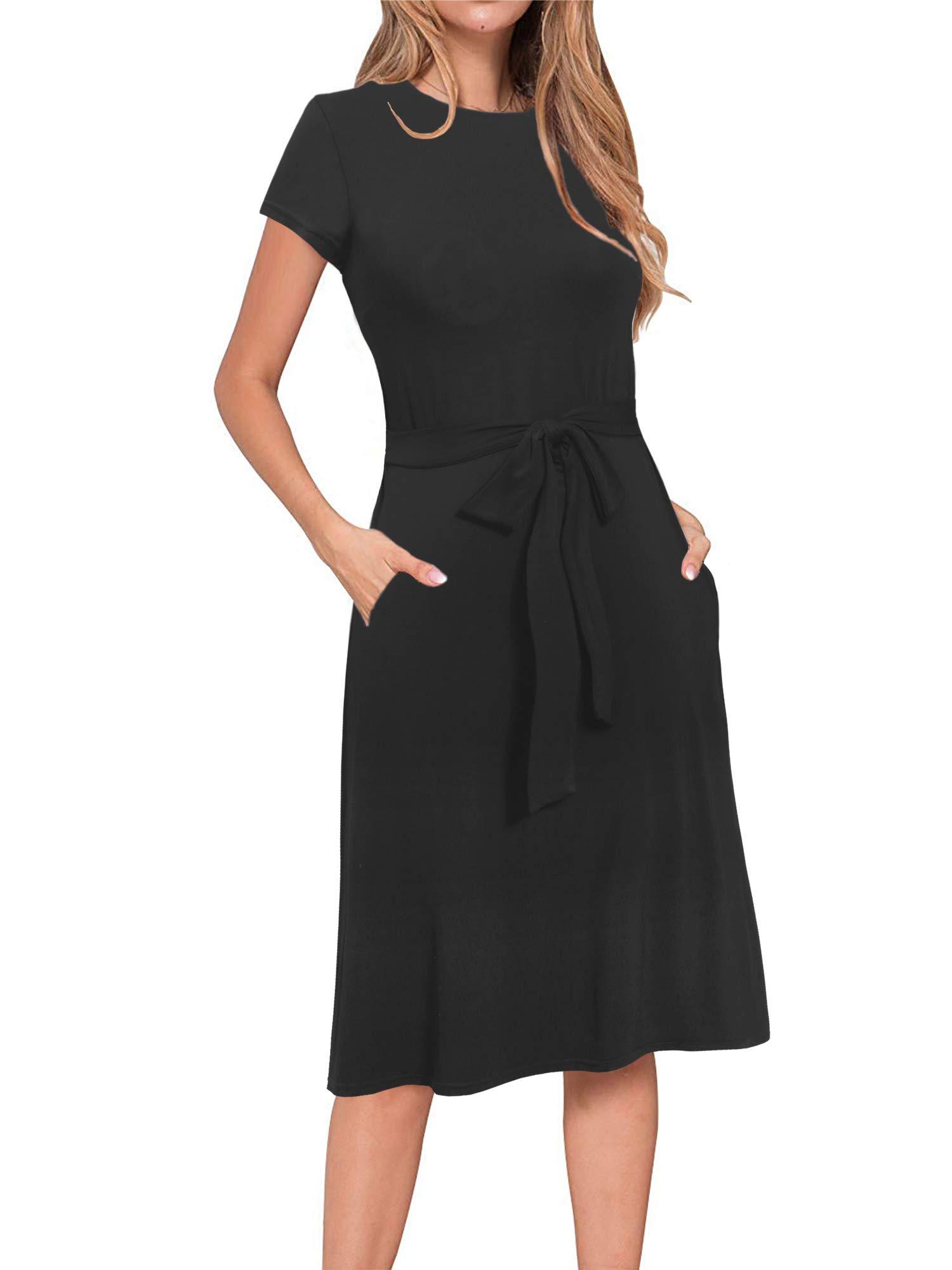 Alice & Elmer Women's Sundress Casual Beach Summer Solid Cotton Flattering A-Line Short Sleeve Black Midi Dress with Pockets