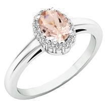 Dazzlingrock Collection 18K 6X4 MM Oval Gemstone & Round White Diamond Ladies Bridal Halo Engagement Ring, White Gold